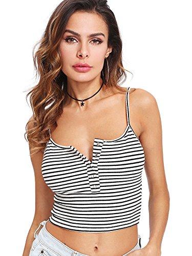 SweatyRocks Women's Sexy Spaghetti Strap Striped Crop Top