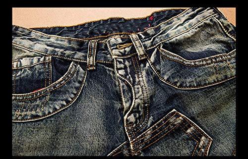 Uomo Jeans Dritto Flaps Flangiato Mids Pantaloni Splicing Vita Base Vecchio Slim Fit 1 Di SR46nSr