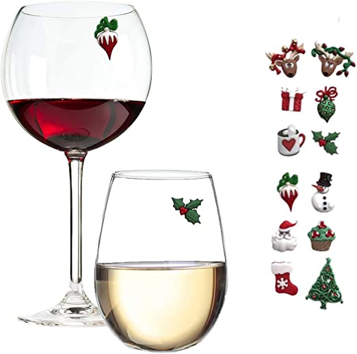 4 and 8 available also Choose any Set of 6 Christmas Glitter Wine Glasses
