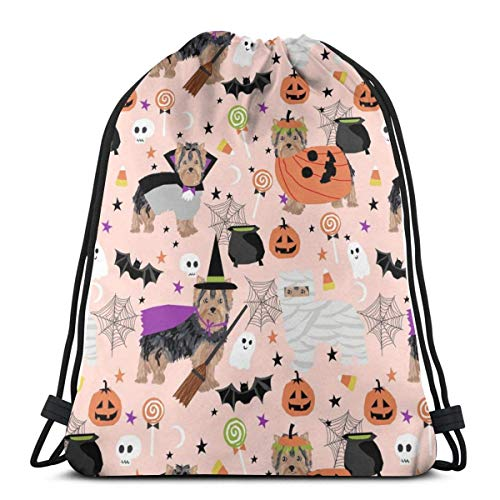 Yorkshire Terrier Yorkie Halloween Costumes Cute Dog Fall Autumn Pink_19762 Custom Drawstring Shoulder Bags Gym Bag Travel Backpack Lightweight Gym for Man Women 16.9