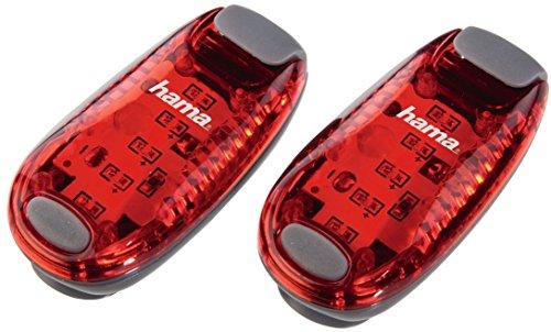 Hama LED-Sicherheitsclip-Set (Batteriebetrieb, Dauerlicht und Blinklicht, ideal für Jogger, Schulkinder, Radfahrer, 2er) rot