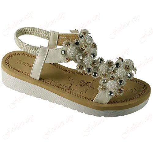 Platform zapatos blanco punta Aaishaz de Sandalias 786 Bottom {4} de y Ladies Flat playa abierta UK RvwtFxBv