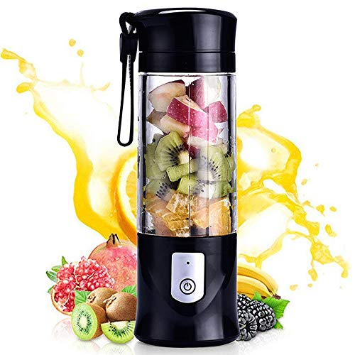 Portable Mini Travel Fruit USB Juicer Cup, Personal Small Electric Juice Mixer Blender Machine with 4000mAh Rechargeable Battery-420ML Water Bottle (Black)