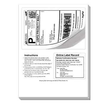 250 Click Ship labels with Tear Off Receipt  Use these to print postage &  packing slip on a single sheet  Universal Labels®