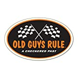 OLD GUYS RULE Sticker for Men | Checkered Past | Cool Wall Decal for Car, Laptop | 5 in | Funny Gift for Dad