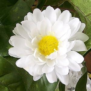 "3"" White Gerbera Daisy Artificial Silk Flower Head (8) 115"