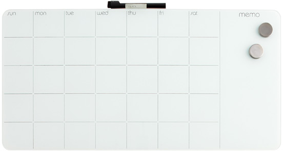 Monthly Glass Magnetic Dry Erase Board | The Container Store