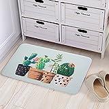Cute Cactus Print Doormats Bedroom Mats Kitchen and Living Room/Bedroom Mats Floor Mat Rug Indoor (50cm80cm, A)