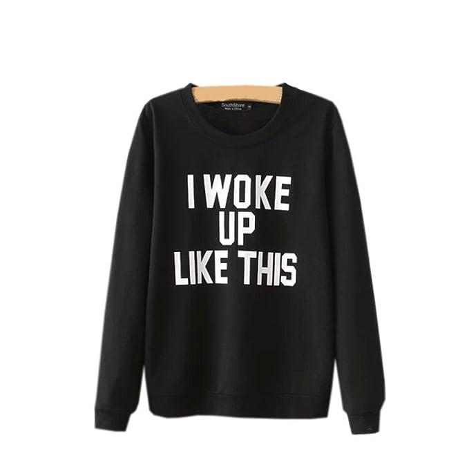 COCO clothing Sudaderas de Mujer Deportivas Blusas Juvenil Alfabeto Estampado Basica Top Camisetas Universidad Sweatshirt Otoño
