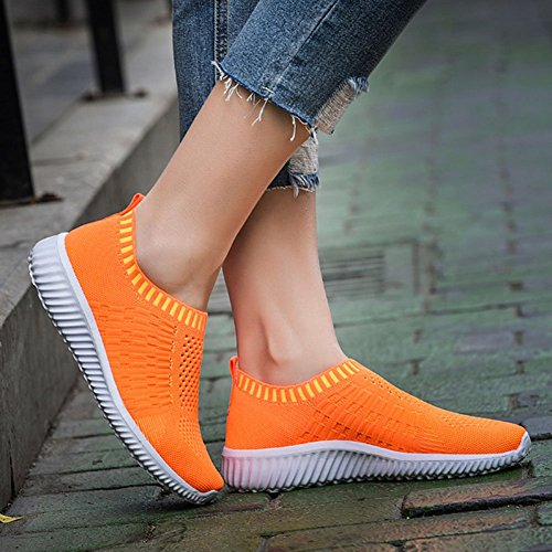 Sneakers ODEMA Running Casual Mesh Lightweight Women's Walking Breathable Shoes Orange Athletic 6Fq6zgwxn4