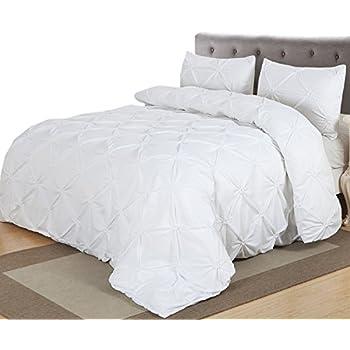 Home Decor Pintuck Duvet Cover Set, Queen, White
