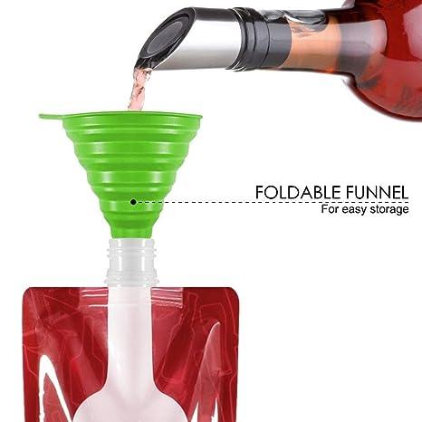 Sulida Bolsa Plegable para Vino, 750 ML, Bolsa portátil para Botella de plástico Reutilizable