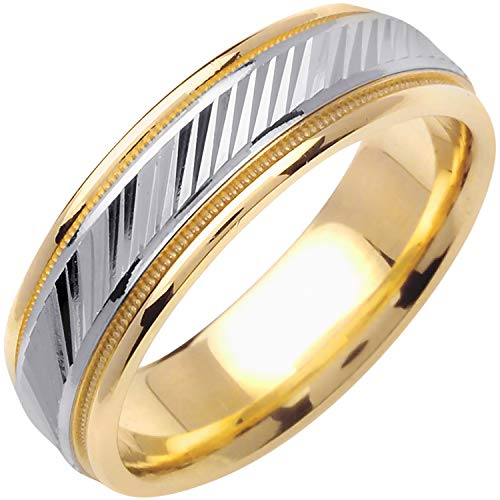 14K Two Tone (White and Yellow) Gold Carved Lines Men's Comfort Fit Wedding Band (6.5mm) Size-13c1