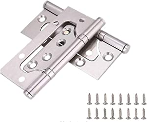 """Ranbo 2Pcs Door Hinges - Easy to Install, 4X 3"""" Stainless Steel Ball Bearing Non-Mortise Interior Door Mobile Home Hinges,Mute Door Hinges for Heavy Weight Door (Silver) (Silver)"""