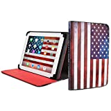 "Cooper Cases(TM) Patriot Universal 9-10"" Tablet Folio w/ USA Flag Pattern (Universal fit, 360-Degree Rotating Stand, Elastic Strap Closure)"