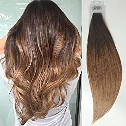 TOFAFA 20 Inch Ombre Tape In Hair Extensions Remy Human Hair 20pcs 40g/Package Multi color Balayage Medium Brown #3 Fading to Dirty Brown #12 Glue In Extensions(20'' TR3/12)