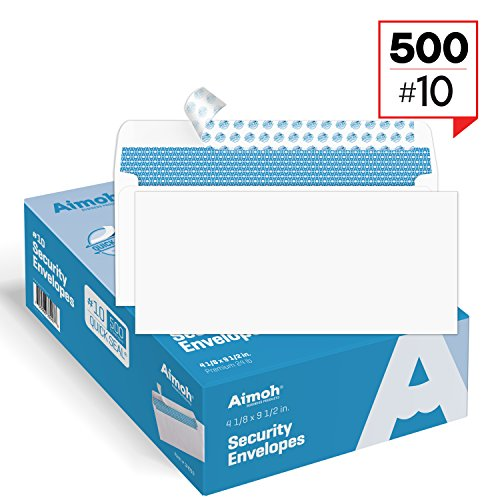 #10 Security SELF-SEAL Envelopes, Windowless Design, Premium Security Tint Pattern for Secure Mailing, Ultra Strong QUICK-SEAL Closure - Size 4-1/8 x 9-1/2 Inches - White - 24 LB - 500 Count (34010)