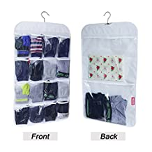 Honla Dual-Sided Hanging Closet Organizer with 18 Clear Vinyl Storage Pockets&Rotating Metal Hanger-Cool Space Saving Holder Solution Ideas for Stockings/Socks/Underwear/Jewelry Organization,White