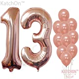 Rose Gold 13 Number Balloons - Large, 1 and 3 Mylar Rose Gold Balloons, 40 Inch   Extra Pack of 10 Latex Baloons, 12 Inch   Great 13th Birthday Party Decorations  13 Year Old Rose Gold Party Supplies