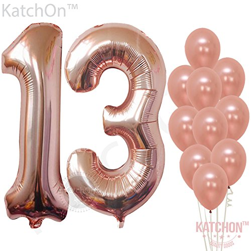 Rose Gold 13 Number Balloons - Large, 1 and 3 Mylar Rose Gold Balloons, 40 Inch | Extra Pack of 10 Latex Baloons, 12 Inch | Great 13th Birthday Party Decorations| 13 Year Old Rose Gold Party Supplies (Arch Decorative 32')