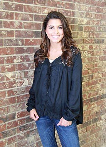 Martin Long Sleeve Denim Shirt (Silver Jeans Shirt Womens Long Sleeve Voile Peasant M Black L36SH4022)