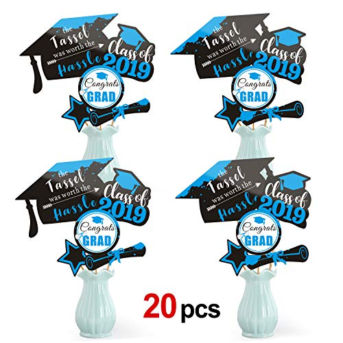 Konsait Black Blue Graduation Centerpiece Sticks-2019 Graduation Decorations-Graduation Party Decorations Accessories- Grad Centerpiece Sticks- Tassel Worth The Hassle-Class of 2019 - Grad Party -