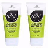 All Good Body Lotion w/Essential Oils – Moisturizing Organic Calendula, Cocoa Butter, Coconut & Rose Hip Oil – Non GMO – Vegan – 6 oz (Lemongrass)(2-Pack)