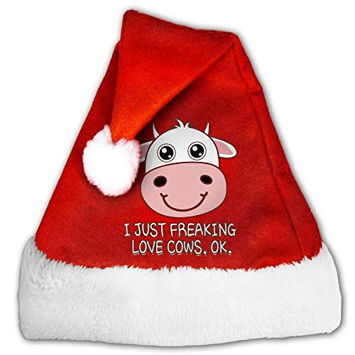 Red and White Christmas Hat, Funny I Just Freaking Love Cows OK Christmas Headbands for Childrens and Adults (2 PCS) (Hat Velvet Pimp)