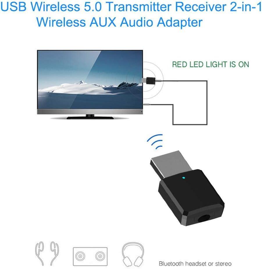 Mliyaw USB Bluetooth transmisor Receptor, 2 en 1 USB Bluetooth 5.0 transmisor Receptor AUX Adaptador de Audio para TV/PC/Coche: Amazon.es: Electrónica