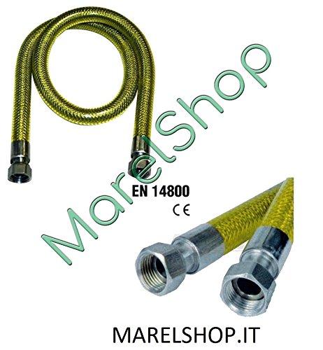 TUBO GAS A NORMA EN14800 IN ACCIAIO INOX FLESSIBILE CUCINE PIANO COTTURA 3 METRI MARELSHOP.IT
