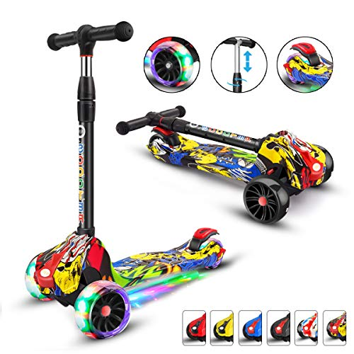 XJD Kick Scooter for Kids 3 Wheel Scooter for Toddlers Girls & Boys, 4 Adjustable Height, Extra-Wide Deck, with Max Glider Deluxe PU Flashing Wheels for Children from 3 to 14 Year-Old, Hip-Pop