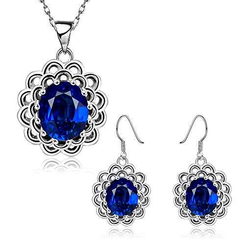 iCAREu Blue Zircon Inlaid Platinum Plated Floral Jewelry sets for Women, 18