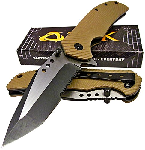 TEK Tactical Edge Spring Assisted Opening Folding Pocket Knife: Desert Tan G10 Handles - Modified Tanto Blade - Razor Sharp - Brand - Tactical Tan Knife Pocket