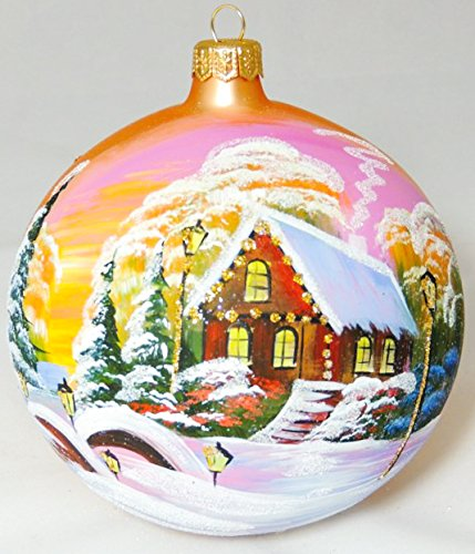 Large Unique Handmade Christmas Ball glass ornament WINTER SCENERY - golden, diameter 4.7 in (12 cm)