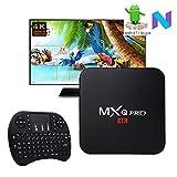 [2018 Version] MXQ PRO Android 7.1 Nougat TV BOX 4K/64Bit/ UHD 4K/Full HD/H.265 Player with KEYBOARD