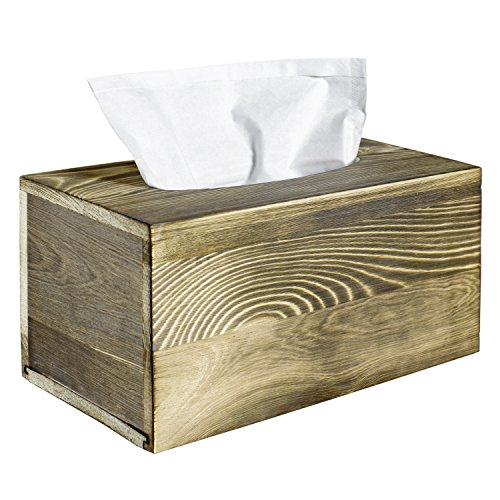 Rustic Torched Wood Rectangle Tissue Box Cover Holder by MyGift