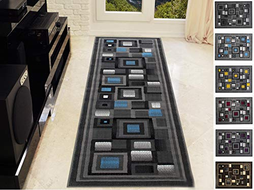 Handcraft Abstract - Blue/Silver/Gray Geometric Modern Squares Pattern Area Rug 2 ft. by 7 ft. Runner. ()