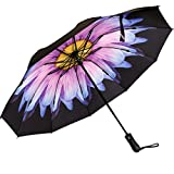 Viefin Reverse Folding Compact Travel Umbrellas for Women, Inverted Inside Out Sun Rain Woman Umbrella, Automatic Open Close, 10 Ribs-Blue Flower