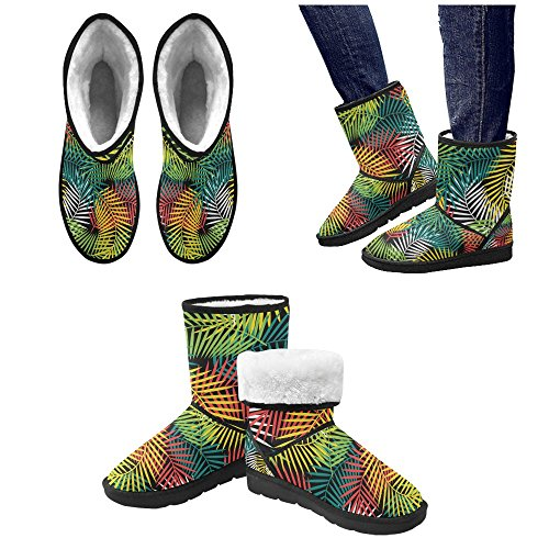 Pattern InterestPrint 5 5 Womens Ladies for Flowers On Classic Boots Color15 Print 12 Snow Colorful Size rFFYn7qR