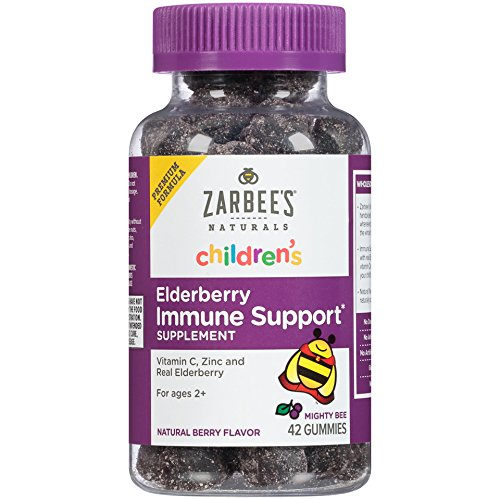 Zarbee's Naturals Children's Elderberry Immune Support* Gummies with Vitamin C, Zinc, Natural Berry Flavor, 42 Count
