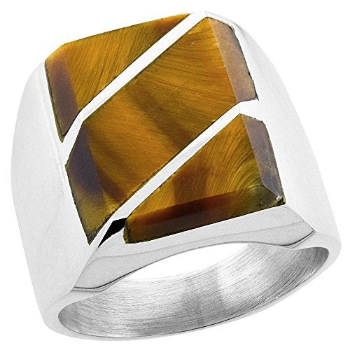 Diagonal Stripes Ring (Sterling Silver Tiger Eye Ring for Men Rectangular Diagonal Stripes Solid Back Handmade, size 12)