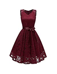 Women Vintage Lace Dress Princess Floral Cocktail V-Neck Party Aline Swing Dress