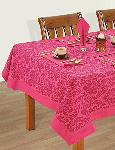 Colorful Multicolor Cotton Spring Floral Tablecloths Tables 60 X 60 Inches, Cerise Pink Border