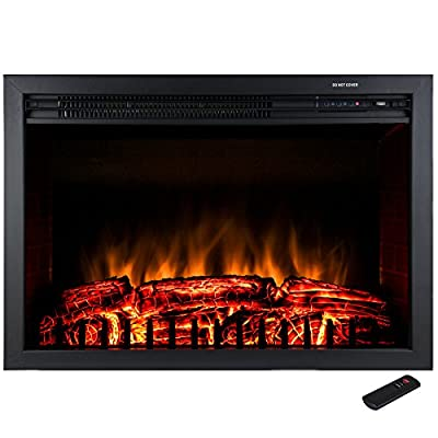 """Golden Vantage 28"""" Freestanding Tempered Glass 5200 BTU 1500W Adjustable Electric Insert Stove Fireplace w/ Remote Control"""