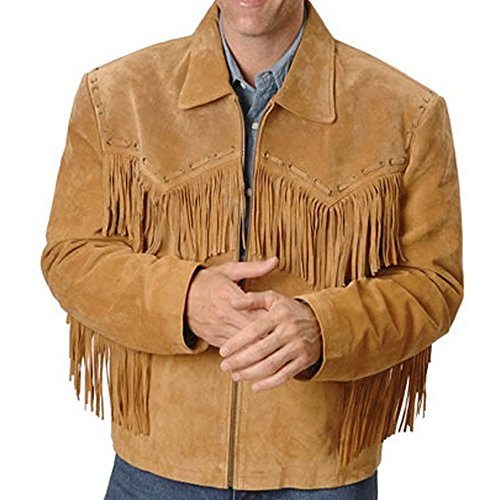 SRHides Men's Big Finged Cowboy Western Leather Jacket Simple Brown 3X-Large