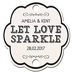 Summer-Ray 48 Personalized White Vintage Shabby I Wedding Sparkler Tags Let Love Sparkle