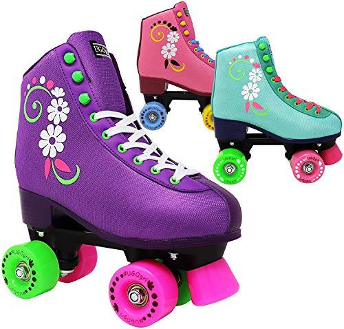 Lenexa uGOgrl Roller Skates for Girls - Kids Quad Roller Skate - Indoor, Outdoor, Derby Children's Skate - Rollerskates Made for Kids - Great Youth Skate for Beginners (Purple, 1)