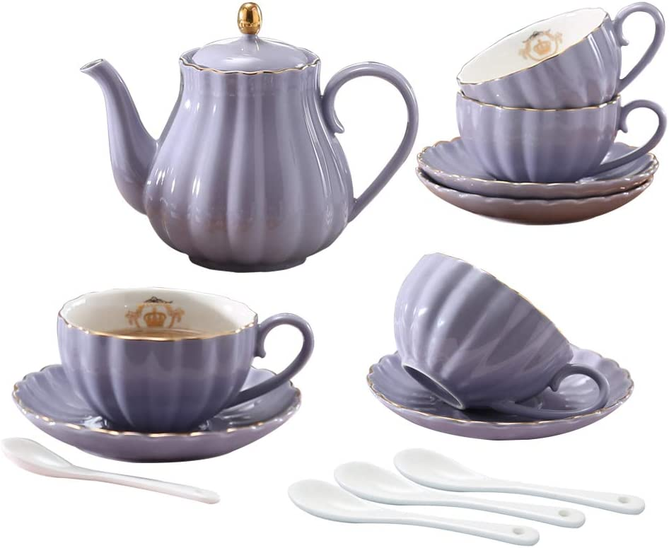 YoungQI Porcelain Tea Coffee Sets with 5 ☆ popular 8 Cup OZ Online limited product Teaspoons Teapot