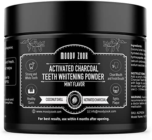 Moody Zook Charcoal Teeth Whitening Powder, 2.7 oz Organic Charcoal Toothpaste with Mint Flavor, Natural Activated Charcoal Powder made from Coconut shell