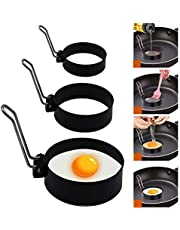 Kotuam Egg Rings,Egg Muffin Circles Cake Molds Stainless Steel Cooking Round for Breakfast Sandwiches Hamburger Pancake Omelette 3 Pack
